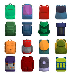 backpack icon set cartoon style vector image