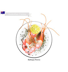 barbecued prawns vector image