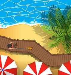 Beach aerial perspective scene vector