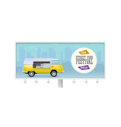 billboard with fast food truck banner for street vector image