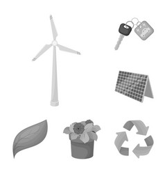 Bio and ecology monochrome icons in set collection vector