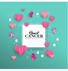 breast cancer awareness paper cut heart shape card vector image