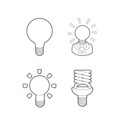 bulb icon set outline style vector image