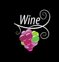 bunch grapes for wine logo vector image