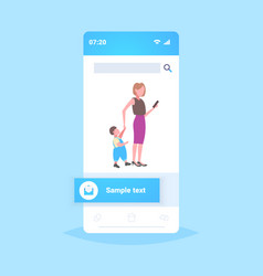 business woman using cellphone while walking vector image