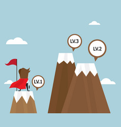 businessman success on top of mountain first level vector image