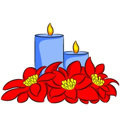 candle and poinsettia vector image