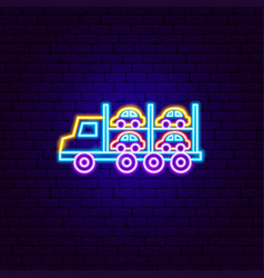 Car transport trailer neon sign vector