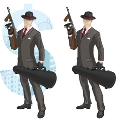 Cartoon caucasian mafioso with Tommy-gun vector image