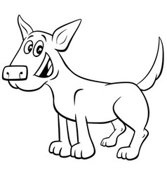 cartoon dog or puppy coloring book page vector image