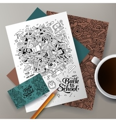 Cartoon doodles Back to school corporate identity vector