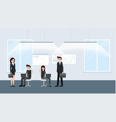 cartoon people working at office together poster vector image