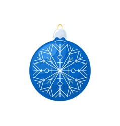 Christmas Blue Ball with Snowflake Isolated vector