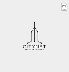 City or town network connection logo template vector