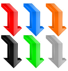 colored down arrows 3d icons vector image