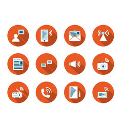 Communication flat long shadow icon set vector