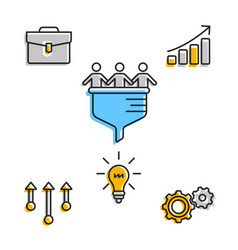 creative icons for team with business plan vector image
