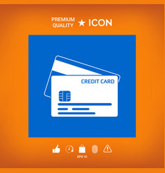 Credit card with a chip and magnetic stripe - ico vector