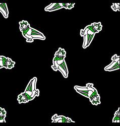 Cute punk rock pigeon on black background vector