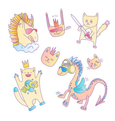 cute set magical fairytale animals - cat vector image