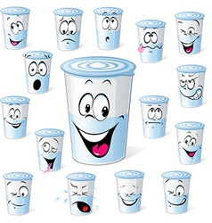 dairy product in plastic cup - funny cartoon with vector image