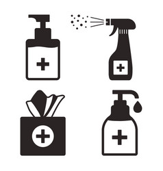 Disinfection hygiene set hand sanitizer vector