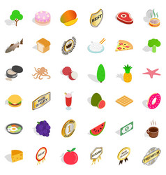 Eco ration icons set isometric style vector
