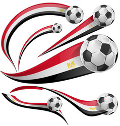 egypt flag set with soccer ball vector image