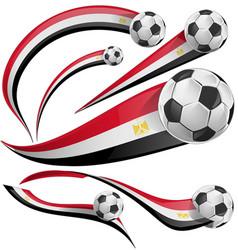 Egypt flag set with soccer ball vector