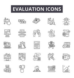 Evaluation line icons signs set outline vector