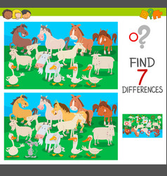 find differences game with farm animal characters vector image