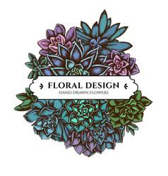 Floral bouquet design with colored succulent vector