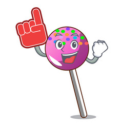 Foam finger lollipop with sprinkles mascot cartoon vector
