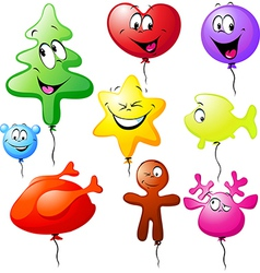 funny xmas colorful balloons vector image