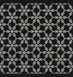 geometric black and white seamless floral pattern vector image