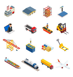 global logistics isometric icons set of different vector image