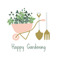 hand drawn gardening banner wheelbarrow plants vector image
