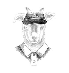 hand drawn portrait goat bawith accessories vector image