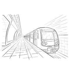 hand drawn sketch subway station vector image