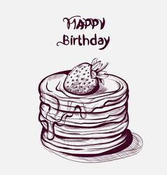happy birthday cake line art old effect vector image
