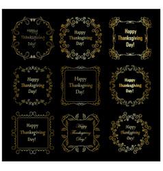 happy thanksgiving day - golden frames vector image