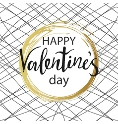 Happy Valentines Day Gold circle with calligraphy vector