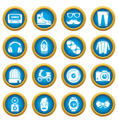 hipster symbols icons set simple style vector image