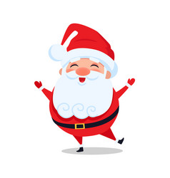Holly santa claus stands on one leg and sing carol vector
