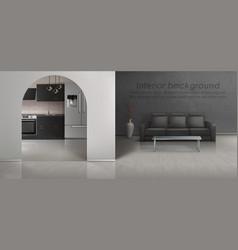 Interior mockup of loft apartment vector