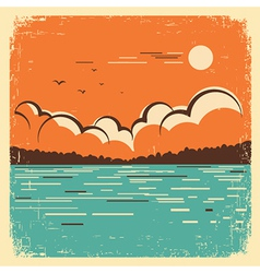 landscape with blue big lake on old poster vector image