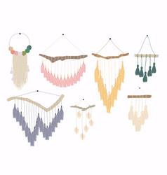 macrame wall hangingsbundle elegant handmade vector image