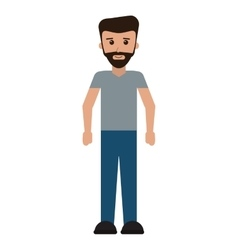 man bearded casual fashion lifestyle vector image