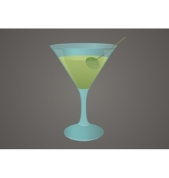 Martini glass with olive vector