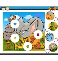 Match pieces game cartoon vector